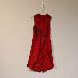 Madewell red midi dress with pockets size 0